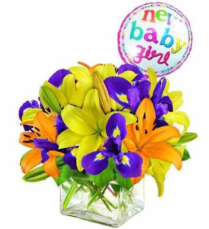 Flowers: New Baby Girl Arrangement - Premium