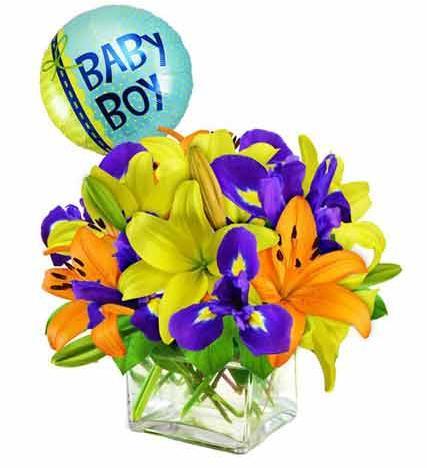 Baby Boy Flower Arrangement - Premium