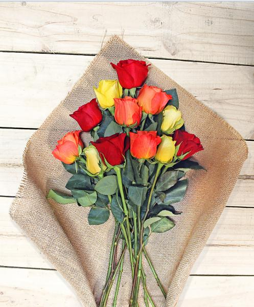 Flowers:_One_Dozen_Assorted_Color_Roses_In_Vase