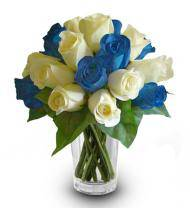 Blue and White Rose Bouquet
