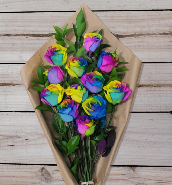 Flowers: Rainbow Roses - One Dozen