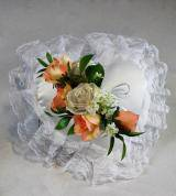 Peach & White Satin Heart Pillow