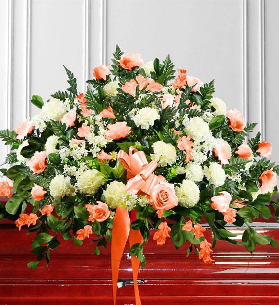 Peach & White Sympathy Casket Spray