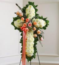 Peach & White Sympathy Cross
