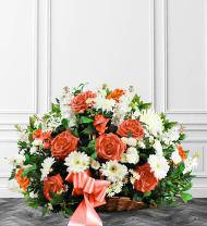 Peach & White Sympathy Fireside Basket
