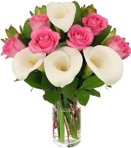 Pink Rose and Mini Calla Lily Bouquet
