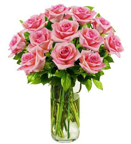 Flowers:_One_Dozen_Pink_Roses_In_Vase
