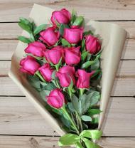 12 Pink Roses - Farm Fresh