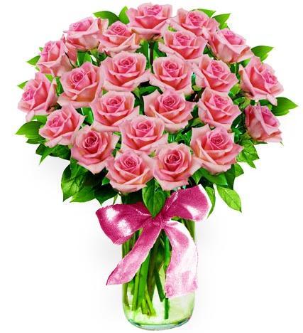 Flowers:_Two_Dozen_Long_Stem_Pink_Roses_In_Vase