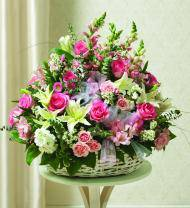 Pink & White Sympathy Basket