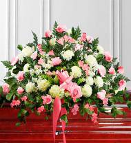 Pink & White Sympathy Casket Spray
