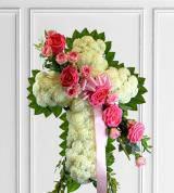 Pink & White Sympathy Cross