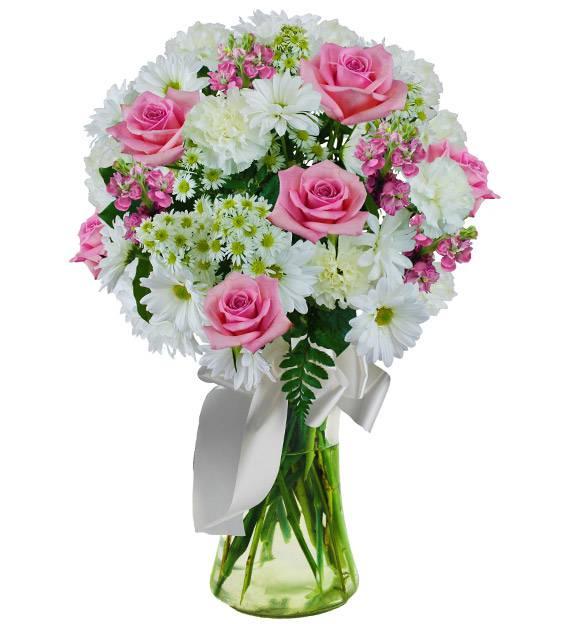 235 & Pink and White Sympathy Vase