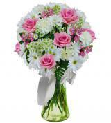 Pink and White Sympathy Vase