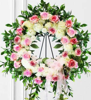 Pink & White Sympathy Wreath