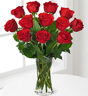 Premium Red Rose Bouquet with Vase - 12 Stems