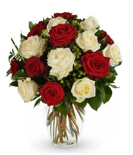 18 Stem Red and White Rose Bouquet