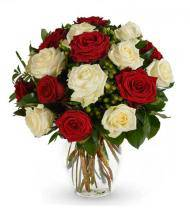 Red and White Rose Bouquet