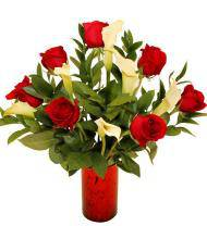 Red Rose and Mini Calla Lily Bouquet