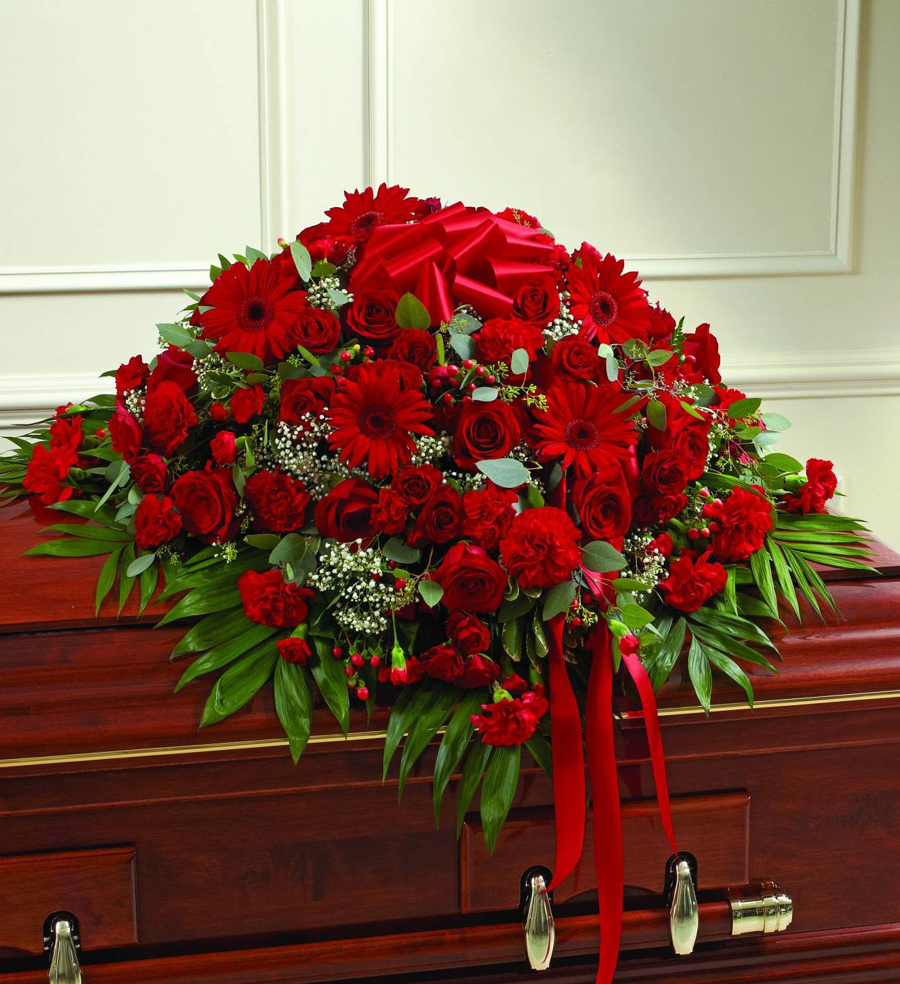 Red Sympathy Casket Spray