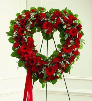 Red Sympathy Heart Wreath