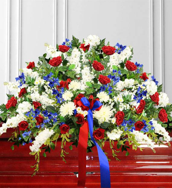 Red, White & Blue Sympathy Casket Spray