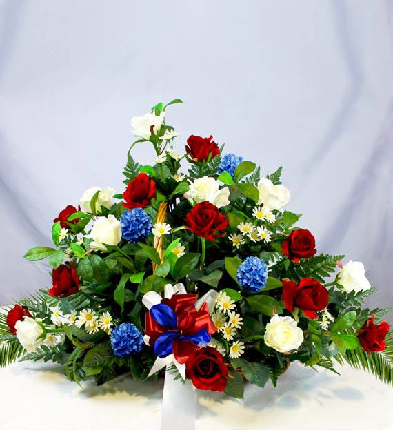 Red, White & Blue Sympathy Fireside Basket