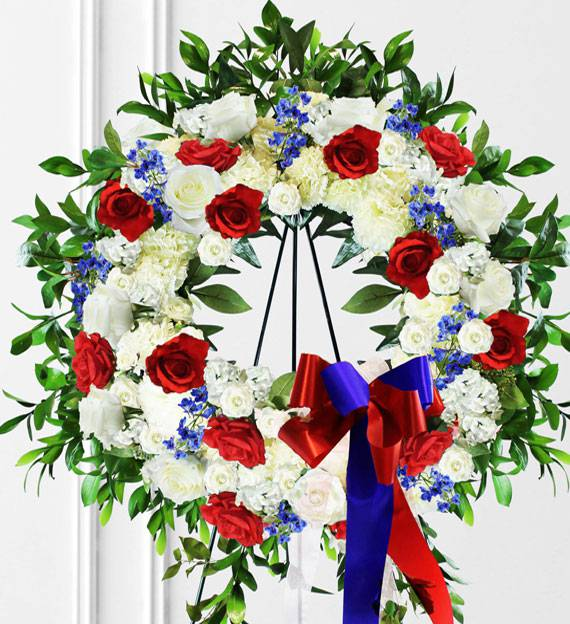 Red, White & Blue Sympathy Wreath