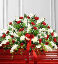 Red & White Sympathy Casket Spray