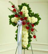 Red & White Sympathy Cross