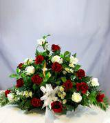 Red & White Sympathy Fireside Basket