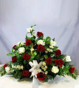 Red & White Sympathy Fireside Basket