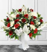 Red & White Sympathy Floor Basket