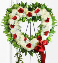 Red & White Sympathy Heart Wreath