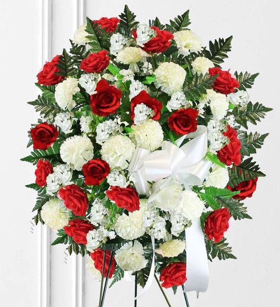 Red & White Sympathy Spray