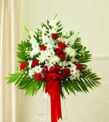 Red & White Sympathy Standing Basket