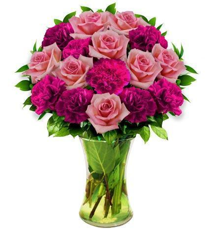 Pink Rose and Carnation Bouquet