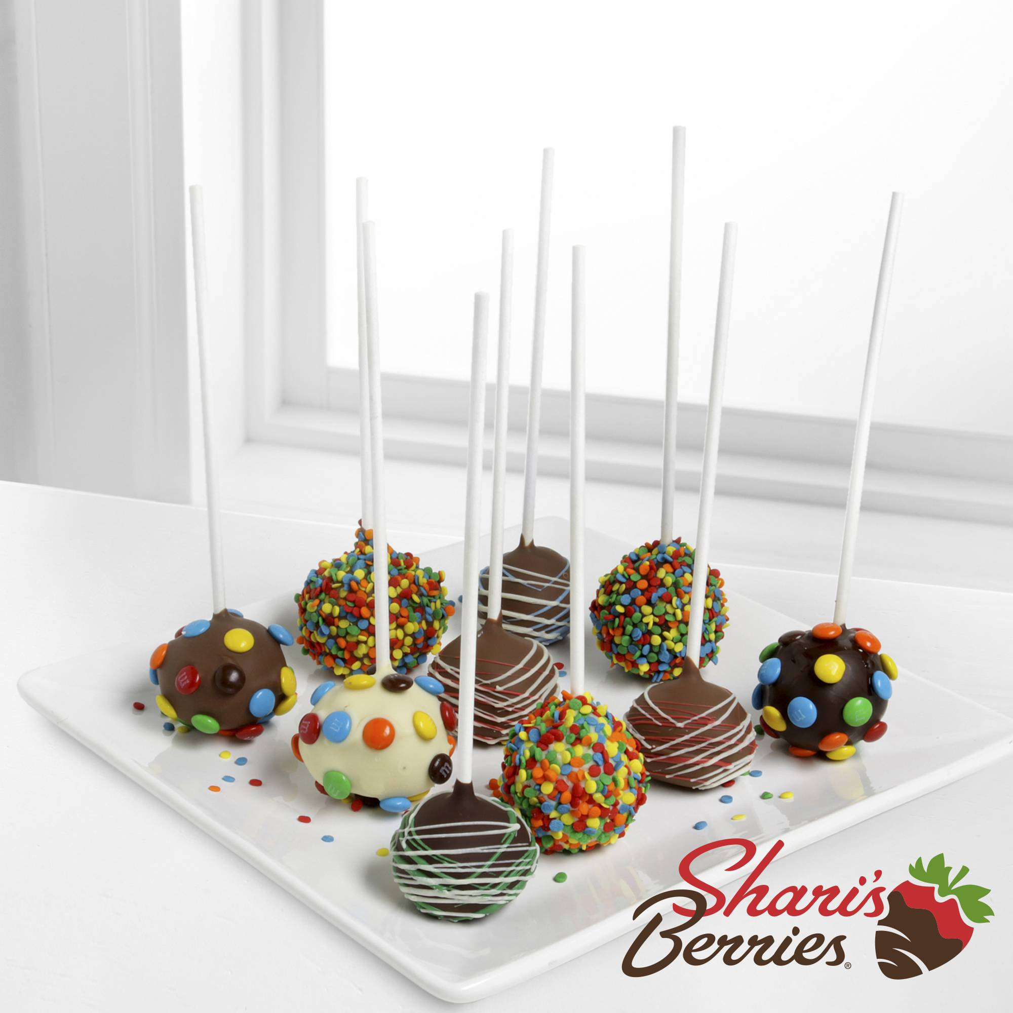 Shari's Berries™ Limited Edition Chocolate Dipped Birthday Celebration Cake Pops-10-piece