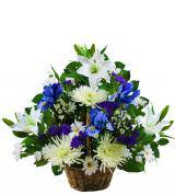 Small Traditional Blue and White Sympathy Basket