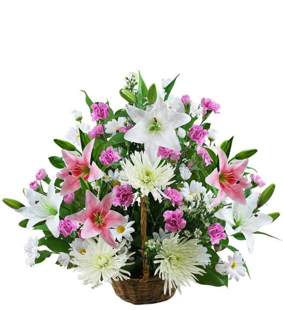 Small Traditional Pink and White Sympathy Basket
