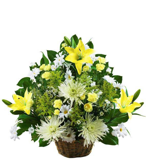 Small Traditional Yellow and White Sympathy Basket