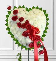 Solid White Sympathy Heart With Red Break