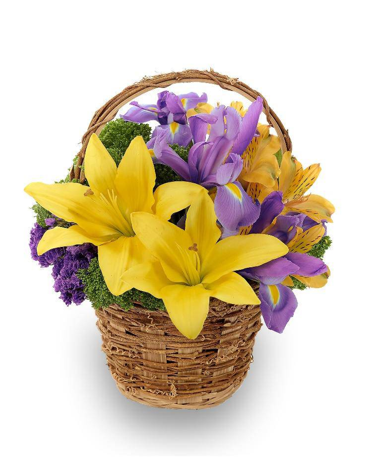 Flower Baskets Photos : Spring meadow flower basket avas flowers