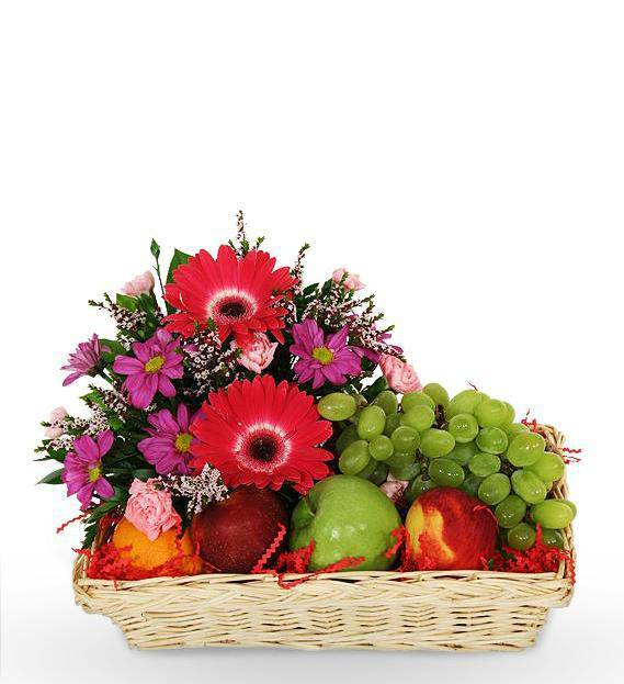 Sympathy Fruit And Flower Basket Avas Flowers