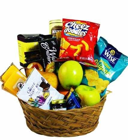 Flowers: Gourmet Fruits And Snack Basket - Premium