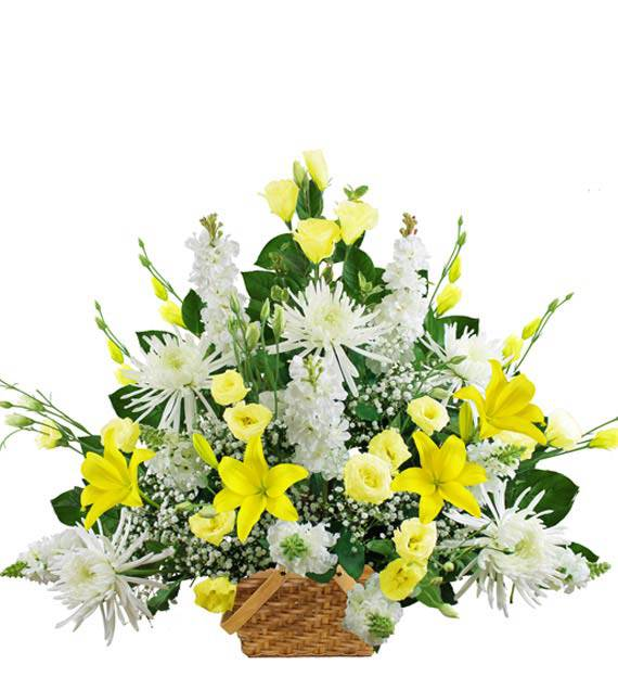 Traditional Yellow and White Sympathy Basket