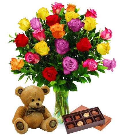 Two Dozen Assorted Color Roses, Bear & Chocolates