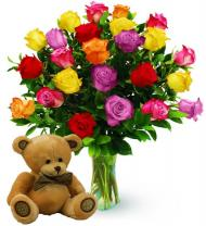 Two Dozen Assorted Color Roses & Bear