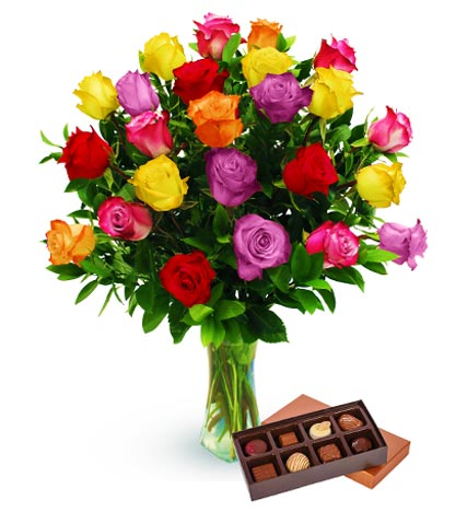 Two Dozen Assorted Color Roses & Chocolates