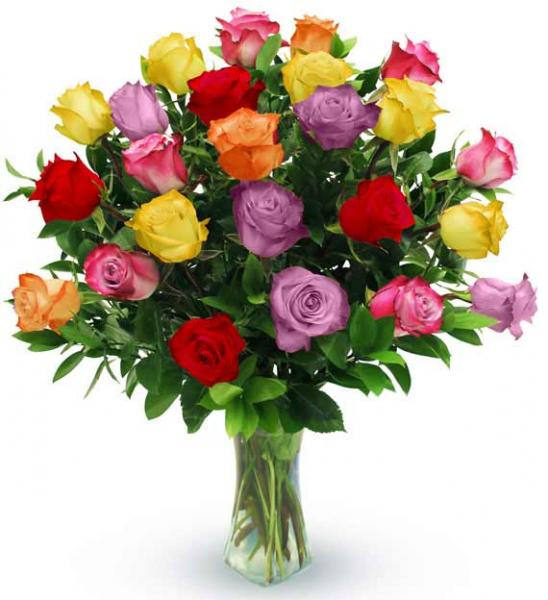 Flowers:_Two_Dozen_Assorted_Color_Roses_In_Vase